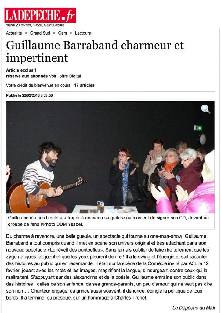 Guillaume Barraband charmeur et impertinent